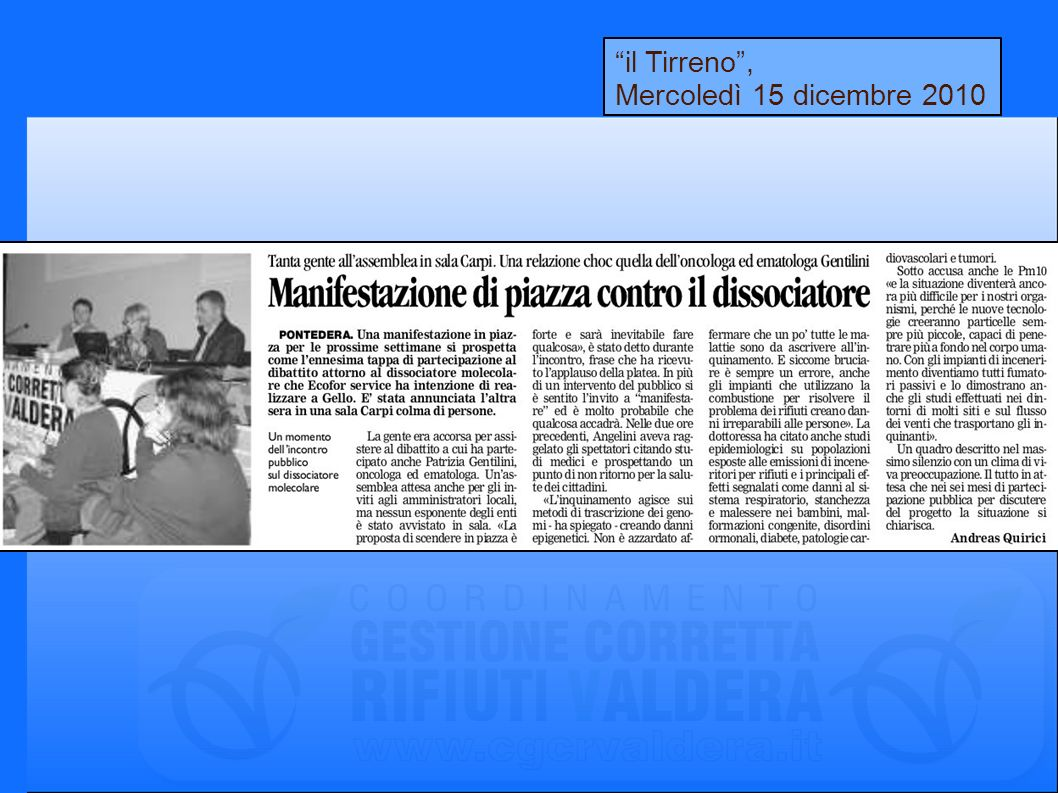 il Tirreno, Mercoledì 15 dicembre 2010