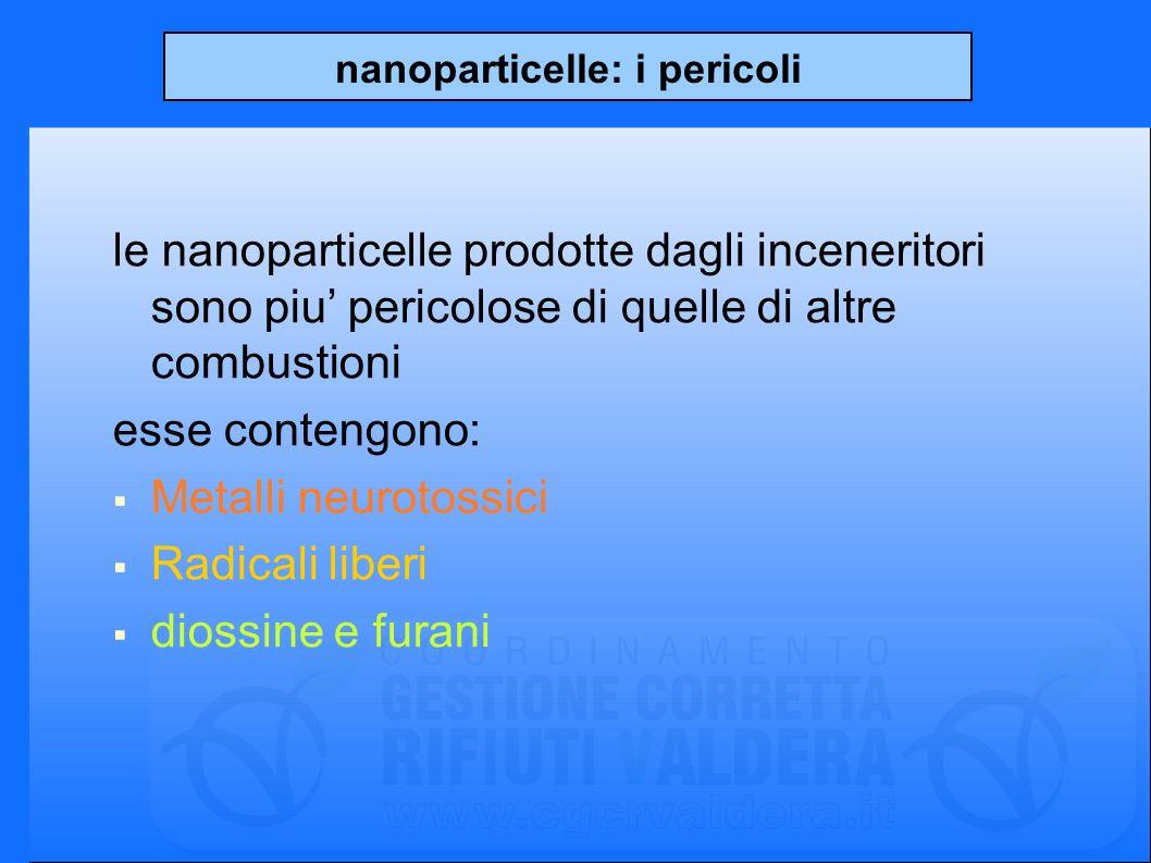 nanoparticelle: i pericoli le nanoparticelle prodotte dagli inceneritori sono piu pericolose di quelle di altre combustioni esse contengono: Metalli neurotossici Radicali liberi diossine e furani