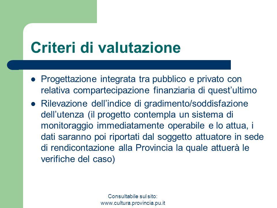 Consultabile sul sito: www.cultura.provincia.pu.it Criteri di valutazione Progettazione integrata tra pubblico e privato con relativa compartecipazion