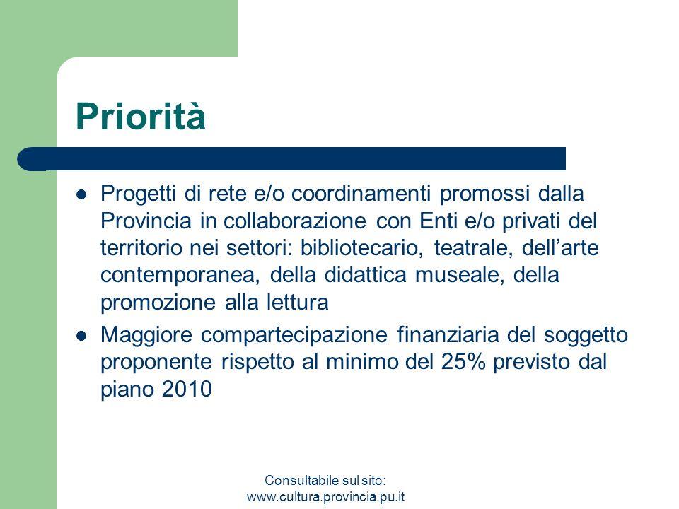 Consultabile sul sito: www.cultura.provincia.pu.it Priorità Progetti di rete e/o coordinamenti promossi dalla Provincia in collaborazione con Enti e/o