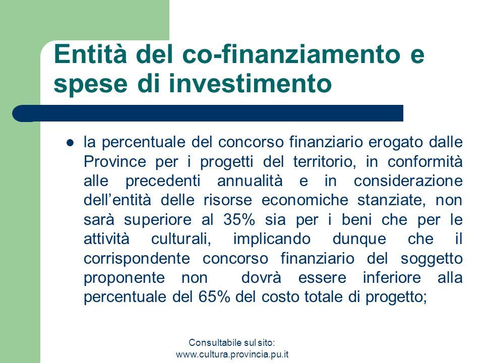 Consultabile sul sito: www.cultura.provincia.pu.it Entità del co-finanziamento e spese di investimento la percentuale del concorso finanziario erogato