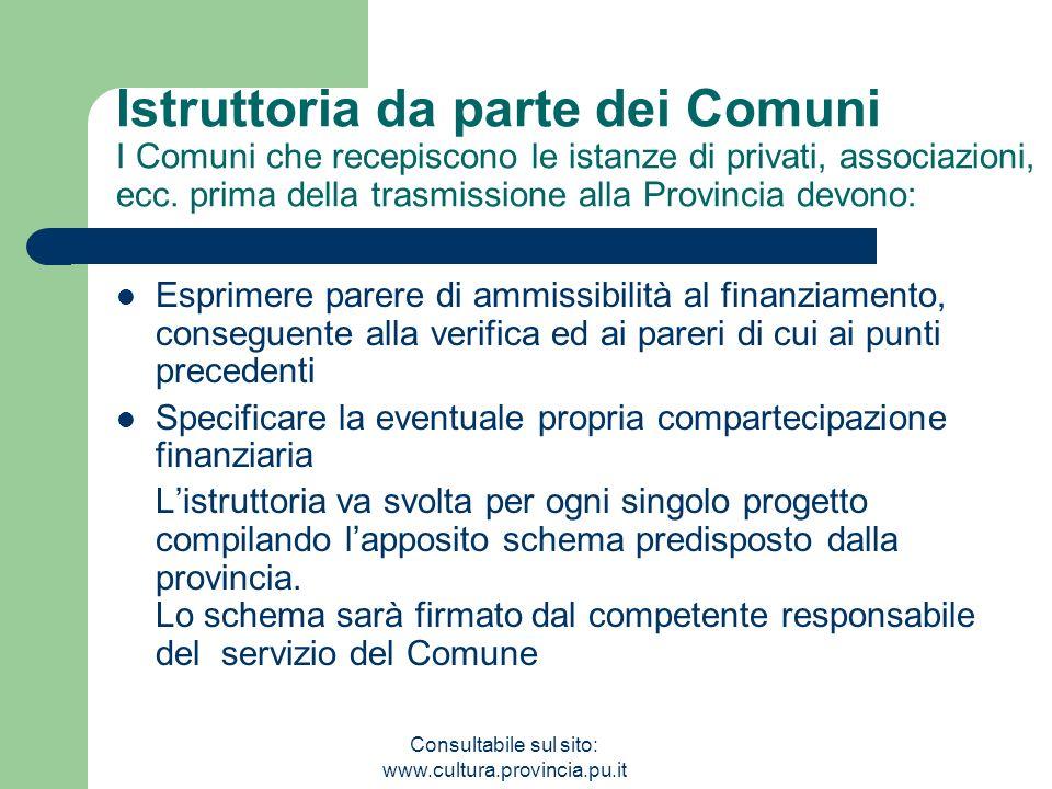 Consultabile sul sito: www.cultura.provincia.pu.it Istruttoria da parte dei Comuni I Comuni che recepiscono le istanze di privati, associazioni, ecc.