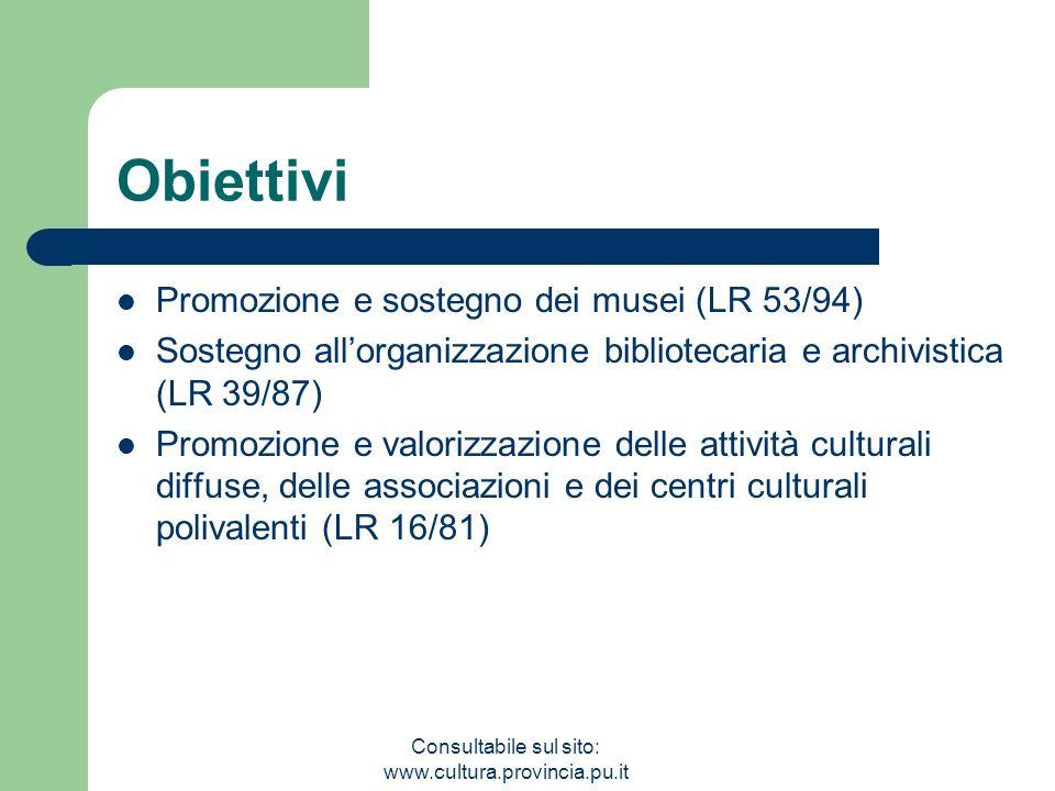 Consultabile sul sito: www.cultura.provincia.pu.it Obiettivi Promozione e sostegno dei musei (LR 53/94) Sostegno allorganizzazione bibliotecaria e archivistica (LR 39/87) Promozione e valorizzazione delle attività culturali diffuse, delle associazioni e dei centri culturali polivalenti (LR 16/81)
