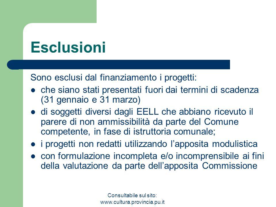 Consultabile sul sito: www.cultura.provincia.pu.it Esclusioni Sono esclusi dal finanziamento i progetti: che siano stati presentati fuori dai termini