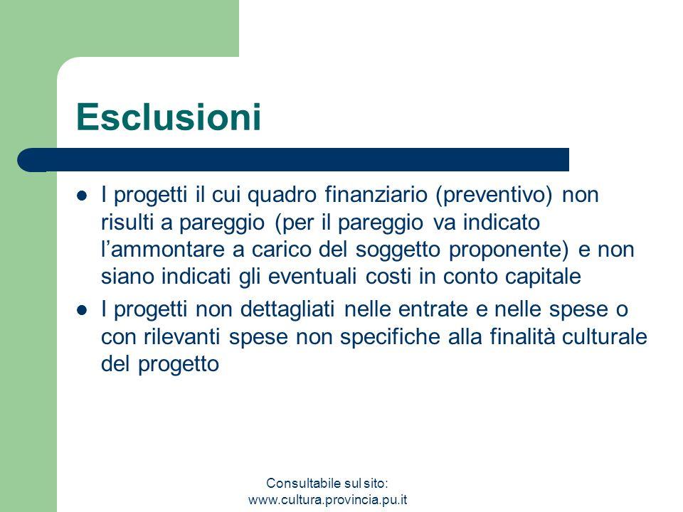 Consultabile sul sito: www.cultura.provincia.pu.it Esclusioni I progetti il cui quadro finanziario (preventivo) non risulti a pareggio (per il pareggi