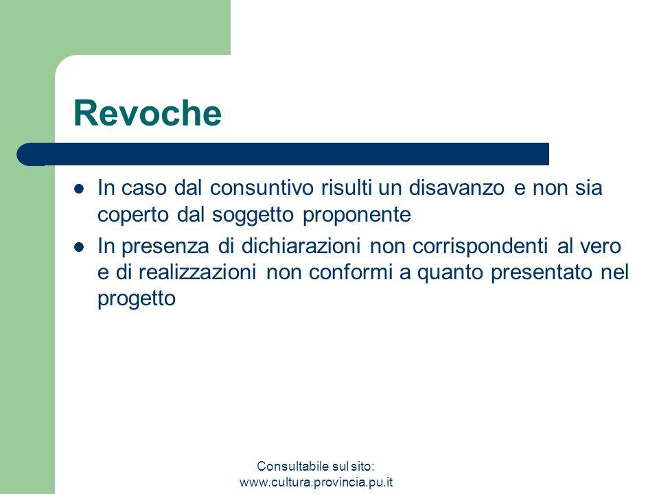 Consultabile sul sito: www.cultura.provincia.pu.it Revoche In caso dal consuntivo risulti un disavanzo e non sia coperto dal soggetto proponente In pr