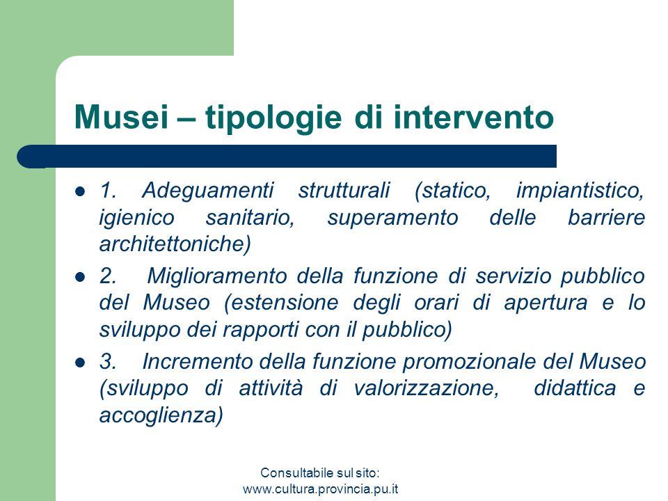 Consultabile sul sito: www.cultura.provincia.pu.it Musei – tipologie di intervento 1. Adeguamenti strutturali (statico, impiantistico, igienico sanita