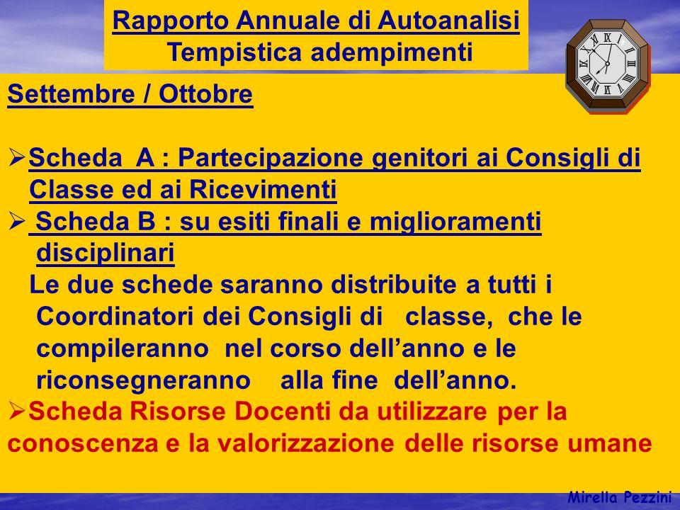 Rapporto Annuale di Autoanalisi Tempistica adempimenti Settembre / Ottobre Scheda A : Partecipazione genitori ai Consigli di Classe ed ai Ricevimenti