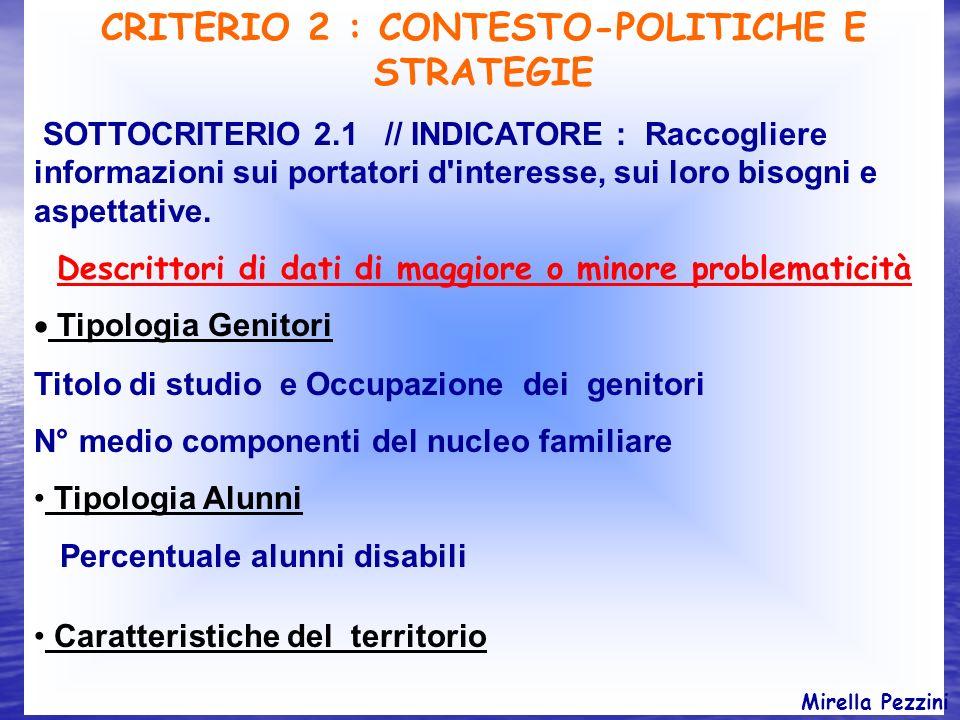 CRITERIO 2 : CONTESTO-POLITICHE E STRATEGIE SOTTOCRITERIO 2.1 // INDICATORE : Raccogliere informazioni sui portatori d'interesse, sui loro bisogni e a