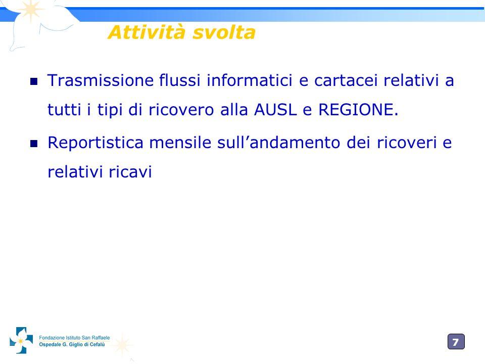 7 Attività svolta Trasmissione flussi informatici e cartacei relativi a tutti i tipi di ricovero alla AUSL e REGIONE.