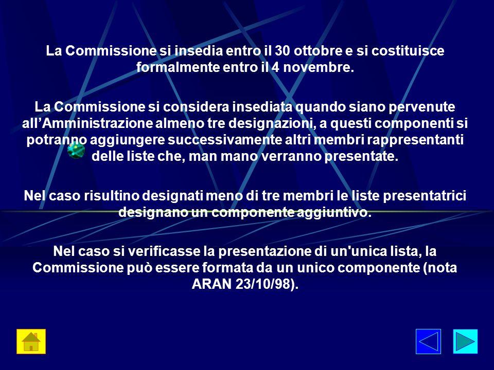 La Commissione si insedia entro il 30 ottobre e si costituisce formalmente entro il 4 novembre. La Commissione si considera insediata quando siano per