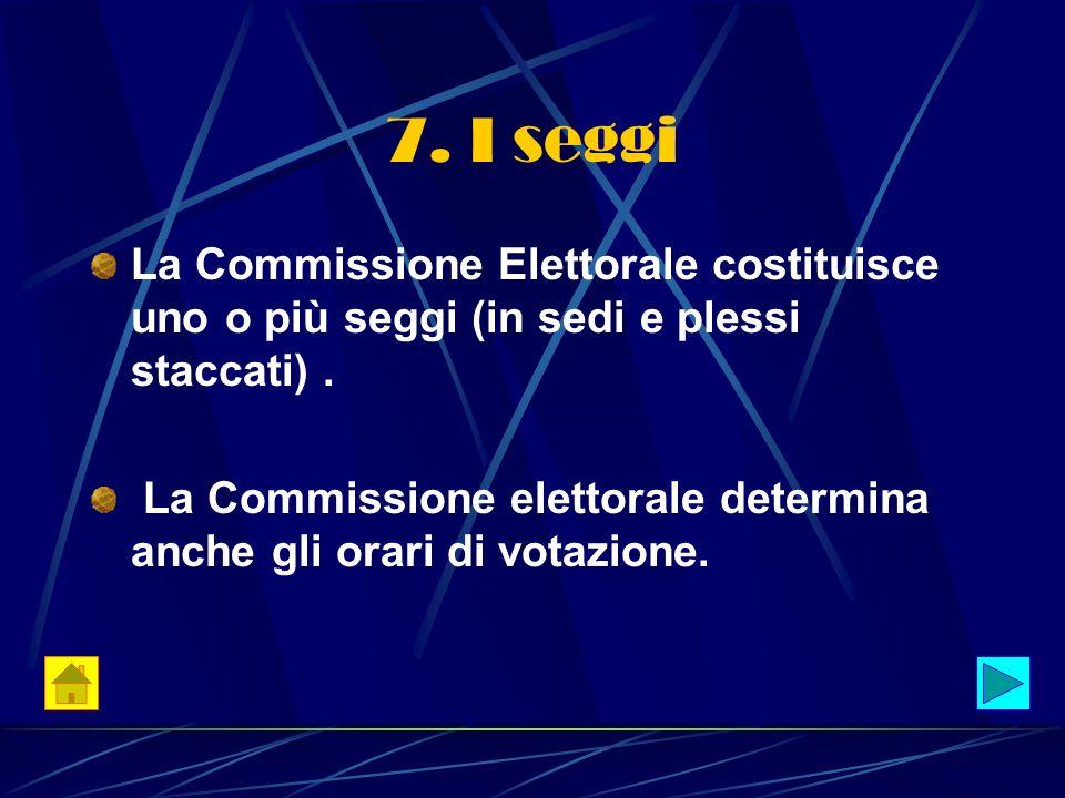 7. I seggi La Commissione Elettorale costituisce uno o più seggi (in sedi e plessi staccati). La Commissione elettorale determina anche gli orari di v