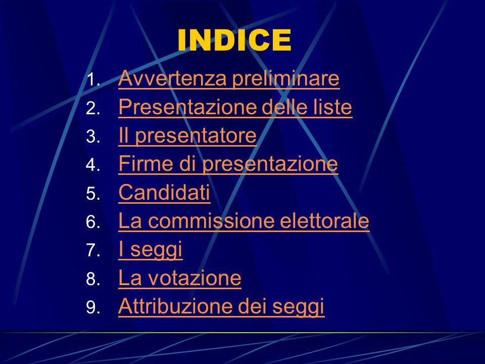 INDICE 1. Avvertenza preliminare Avvertenza preliminare 2. Presentazione delle liste Presentazione delle liste 3. Il presentatore Il presentatore 4. F