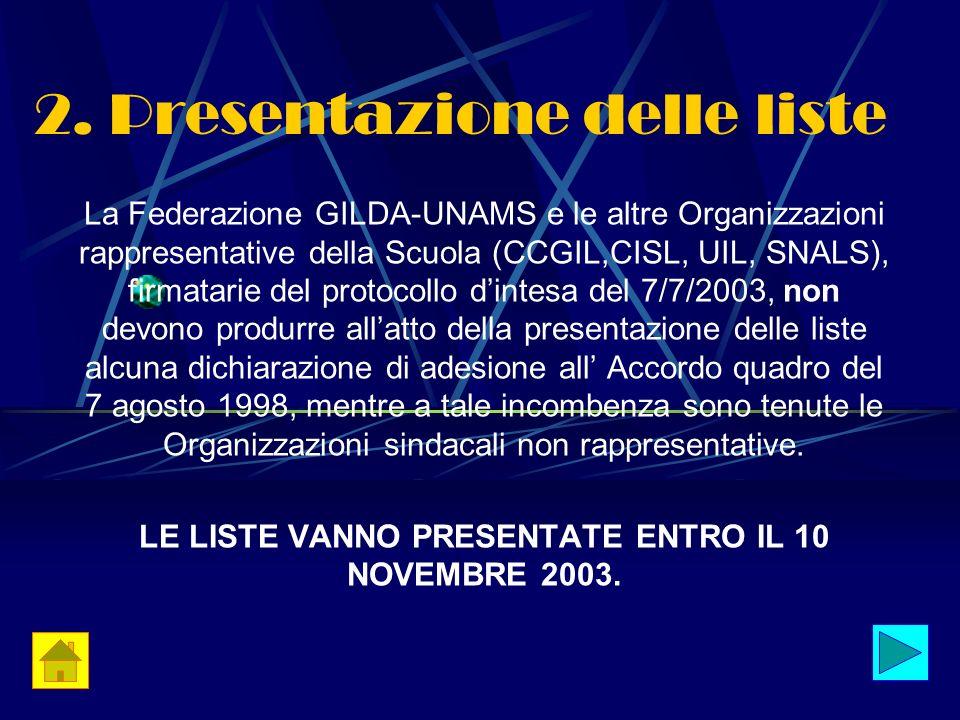 2. Presentazione delle liste La Federazione GILDA-UNAMS e le altre Organizzazioni rappresentative della Scuola (CCGIL,CISL, UIL, SNALS), firmatarie de