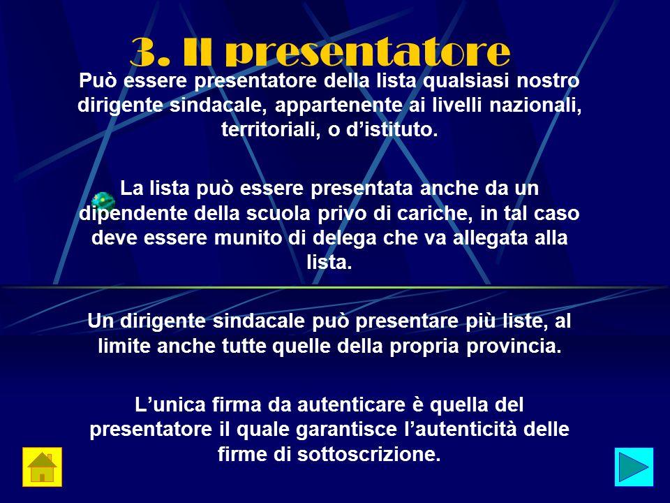 3. Il presentatore Può essere presentatore della lista qualsiasi nostro dirigente sindacale, appartenente ai livelli nazionali, territoriali, o distit