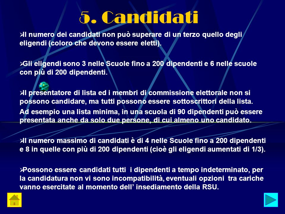 5. Candidati Il numero dei candidati non può superare di un terzo quello degli eligendi (coloro che devono essere eletti). Gli eligendi sono 3 nelle S