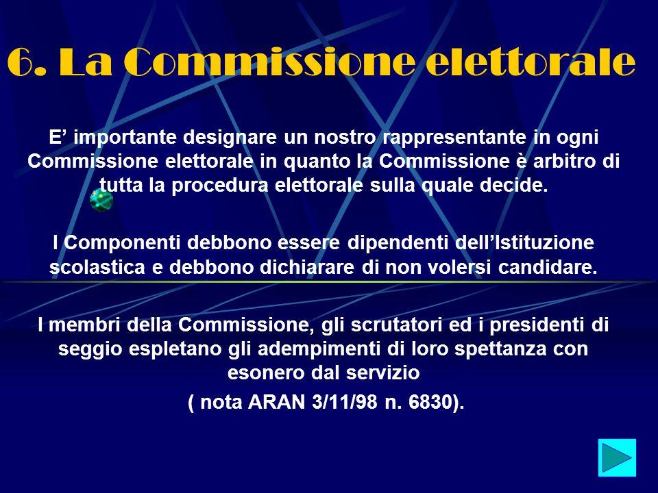 6. La Commissione elettorale E importante designare un nostro rappresentante in ogni Commissione elettorale in quanto la Commissione è arbitro di tutt