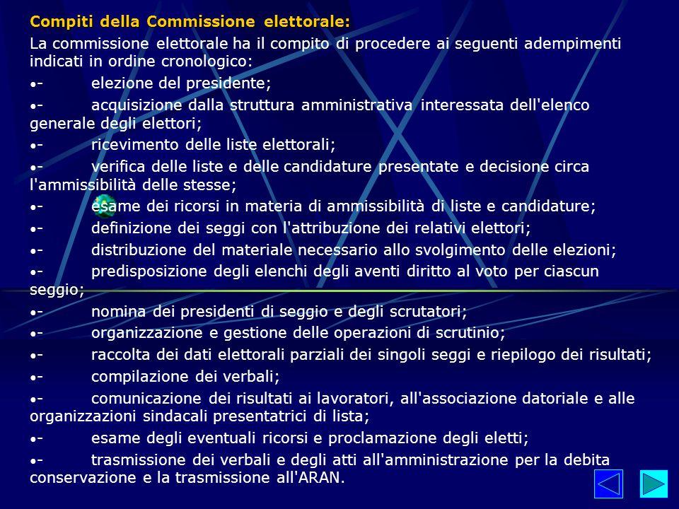 Compiti della Commissione elettorale: La commissione elettorale ha il compito di procedere ai seguenti adempimenti indicati in ordine cronologico: - e