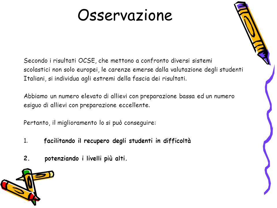 Osservazione Secondo i risultati OCSE, che mettono a confronto diversi sistemi scolastici non solo europei, le carenze emerse dalla valutazione degli