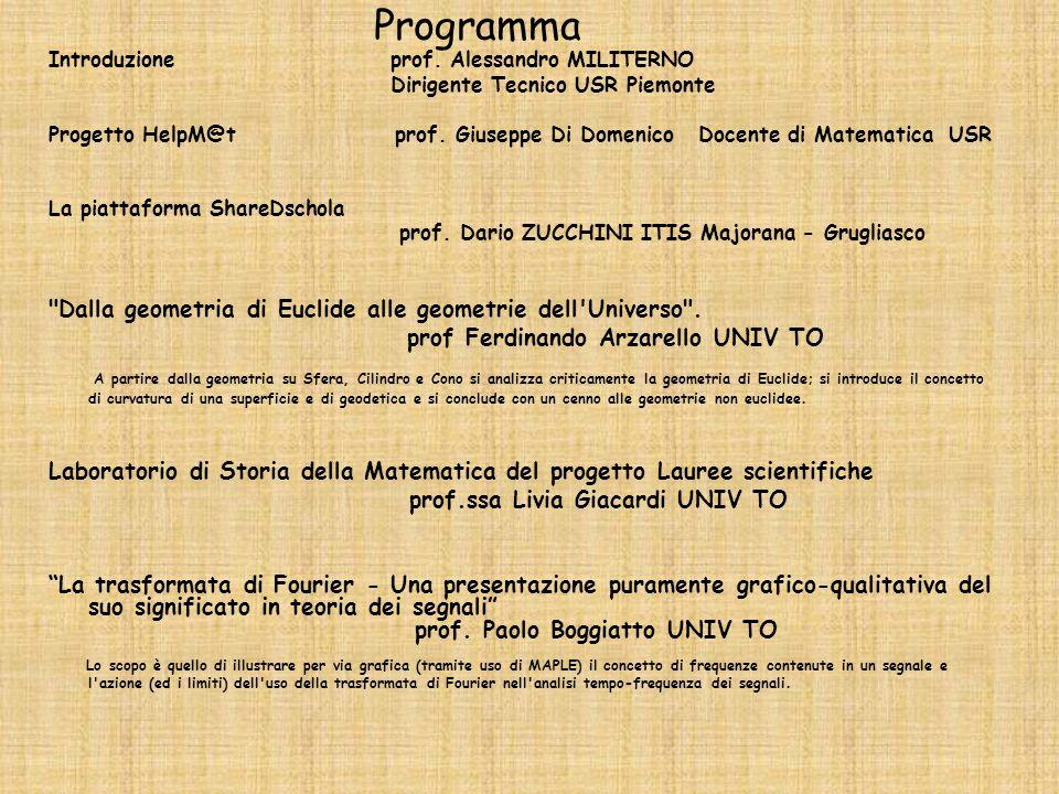 Programma Introduzione prof. Alessandro MILITERNO Dirigente Tecnico USR Piemonte Progetto HelpM@t prof. Giuseppe Di Domenico Docente di Matematica USR