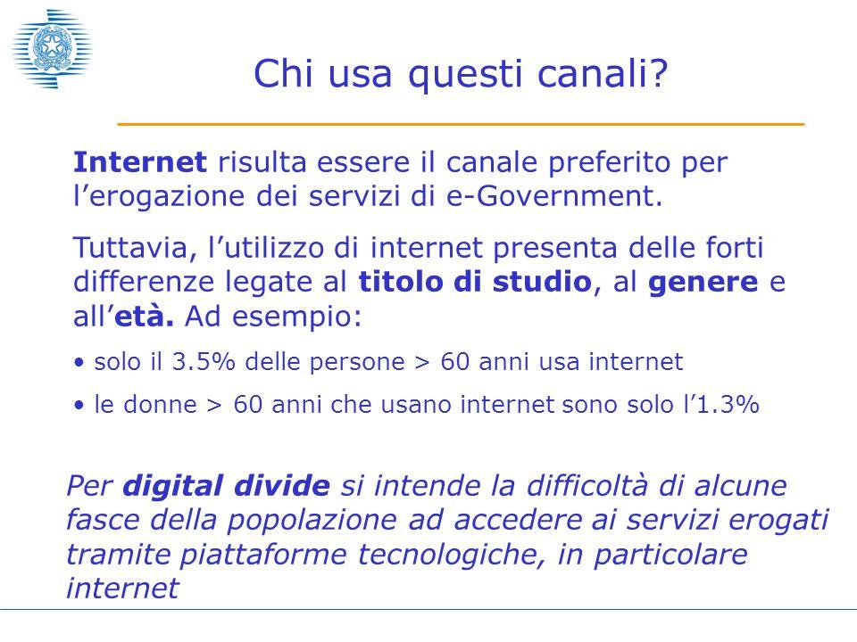 Chi usa questi canali? Internet risulta essere il canale preferito per lerogazione dei servizi di e-Government. Tuttavia, lutilizzo di internet presen
