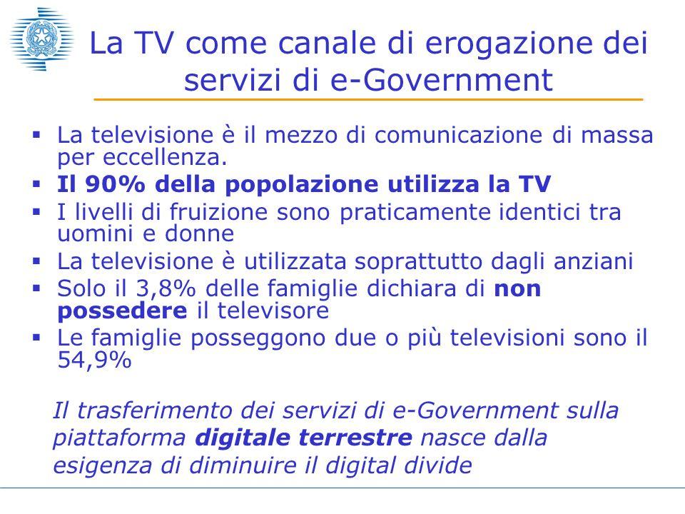 La TV come canale di erogazione dei servizi di e-Government La televisione è il mezzo di comunicazione di massa per eccellenza. Il 90% della popolazio