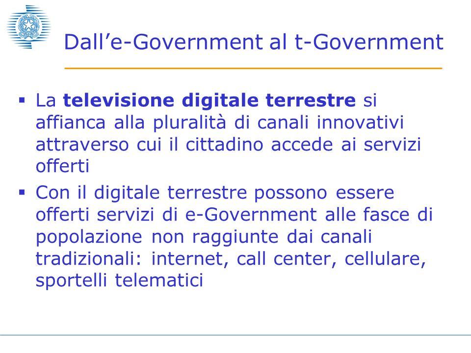 Dalle-Government al t-Government La televisione digitale terrestre si affianca alla pluralità di canali innovativi attraverso cui il cittadino accede