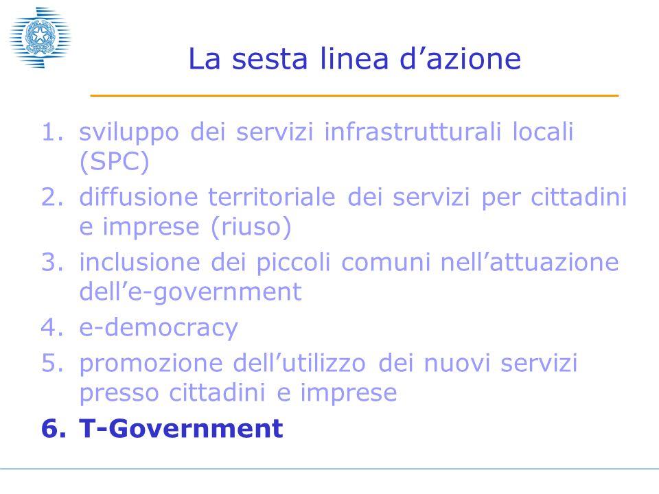 La sesta linea dazione 1.sviluppo dei servizi infrastrutturali locali (SPC) 2.diffusione territoriale dei servizi per cittadini e imprese (riuso) 3.in