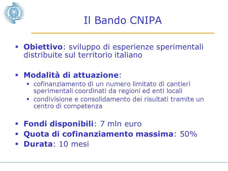 Il Bando CNIPA Obiettivo: sviluppo di esperienze sperimentali distribuite sul territorio italiano Modalità di attuazione: cofinanziamento di un numero