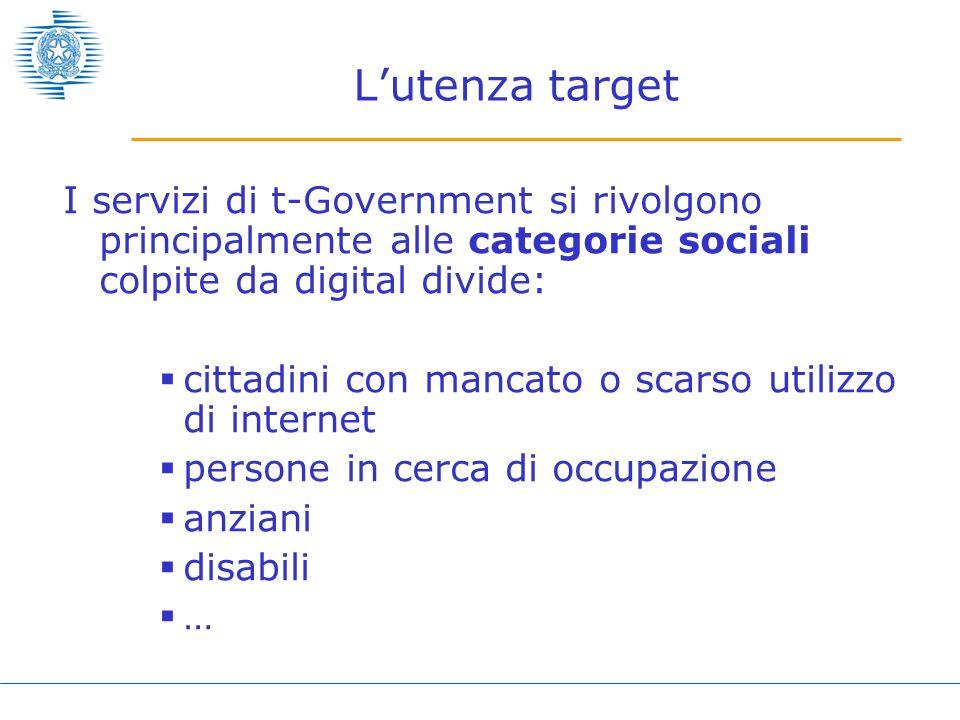 Lutenza target I servizi di t-Government si rivolgono principalmente alle categorie sociali colpite da digital divide: cittadini con mancato o scarso
