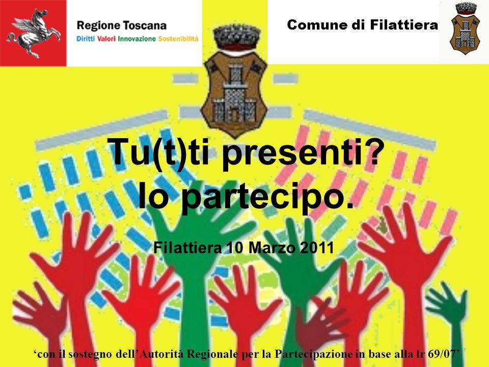 Comune di Filattiera con il sostegno dellAutorità Regionale per la Partecipazione in base alla lr 69/07 Filattiera 10 Marzo 2011 Tu(t)ti presenti.