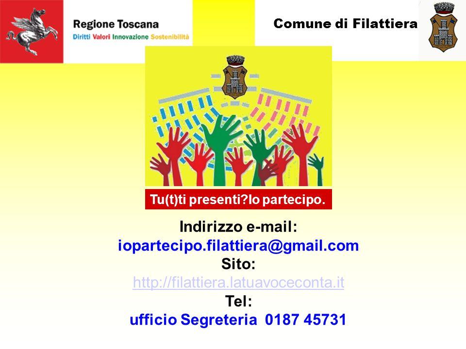Comune di Filattiera Indirizzo e-mail: iopartecipo.filattiera@gmail.com Sito: http://filattiera.latuavoceconta.it Tel: ufficio Segreteria 0187 45731 Tu(t)ti presenti?Io partecipo.