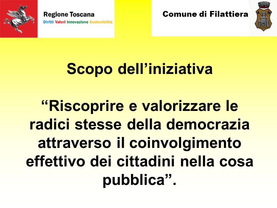 Comune di Filattiera Scopo delliniziativa Riscoprire e valorizzare le radici stesse della democrazia attraverso il coinvolgimento effettivo dei cittadini nella cosa pubblica.