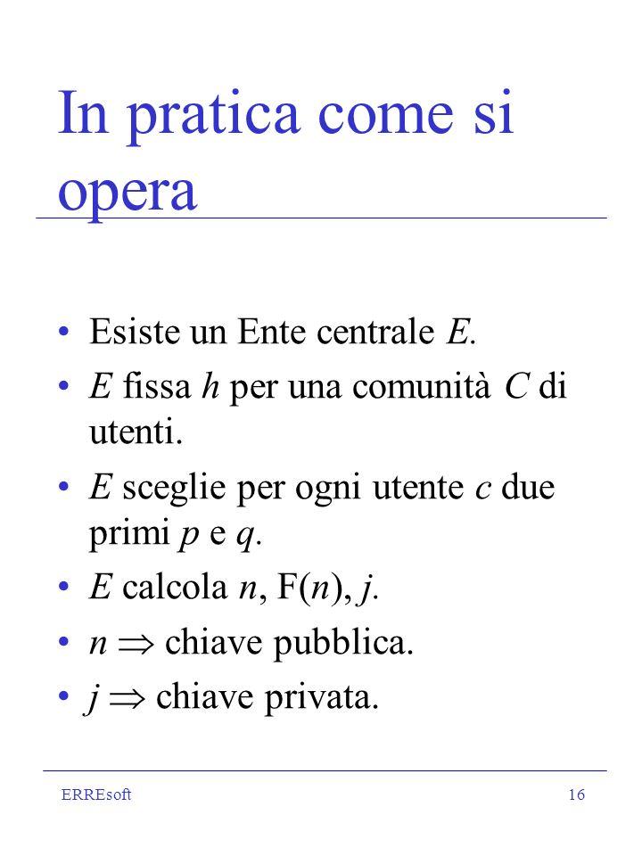ERREsoft16 In pratica come si opera Esiste un Ente centrale E. E fissa h per una comunità C di utenti. E sceglie per ogni utente c due primi p e q. E