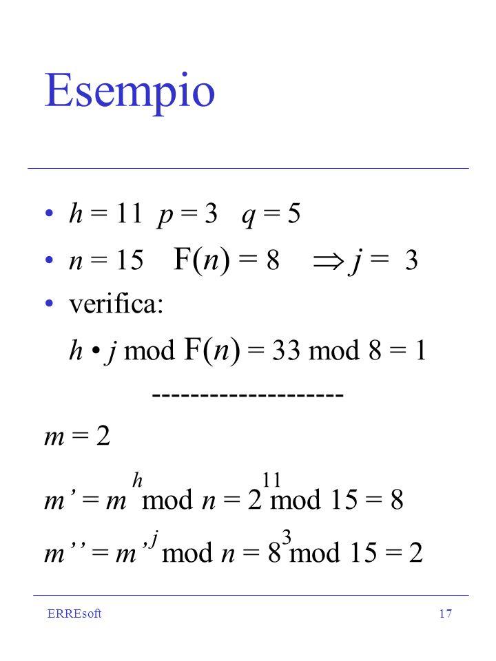 ERREsoft17 Esempio h = 11 p = 3 q = 5 n = 15 F(n) = 8 j = 3 verifica: h j mod F(n) = 33 mod 8 = 1 -------------------- m = 2 h 11 m = m mod n = 2 mod