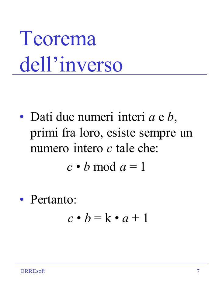 ERREsoft8 Indicatore di Eulero Si indica con il simbolo F(n) E il numero dei numeri naturali < n, primi con n Es.:n = 7 Sono primi con 7: 1,2,3,4,5,6 F(7) = 6 Se n è primo, F(n) = n-1 Se n = p q, con p e q primi, F(n) = (p-1) (q-1) Es.: n = 3 7 = 21 F(21) = 2 6 = 12 (1,2,4,5,8,10,11,13,16,17,19,20)