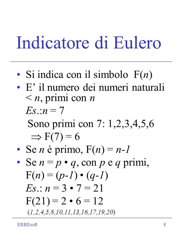 ERREsoft8 Indicatore di Eulero Si indica con il simbolo F(n) E il numero dei numeri naturali < n, primi con n Es.:n = 7 Sono primi con 7: 1,2,3,4,5,6