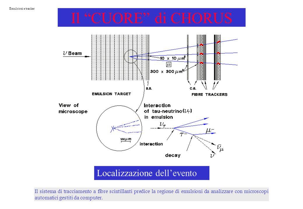 Il sistema di tracciamento a fibre scintillanti predice la regione di emulsioni da analizzare con microscopi automatici gestiti da computer.