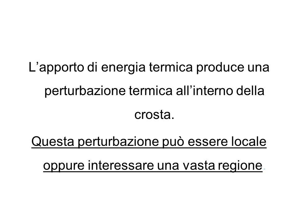 Lapporto di energia termica produce una perturbazione termica allinterno della crosta. Questa perturbazione può essere locale oppure interessare una v