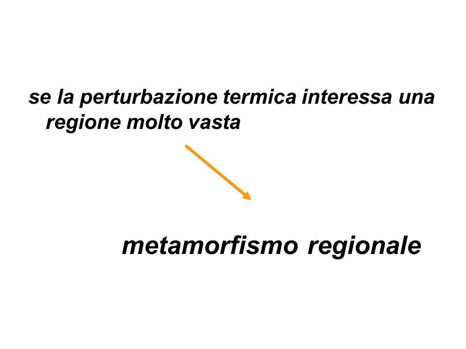 se la perturbazione termica interessa una regione molto vasta metamorfismo regionale