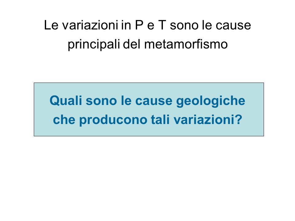 Le variazioni in P e T sono le cause principali del metamorfismo Quali sono le cause geologiche che producono tali variazioni?