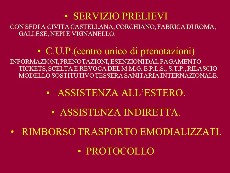 SERVIZIO PRELIEVI CON SEDI A CIVITA CASTELLANA, CORCHIANO, FABRICA DI ROMA, GALLESE, NEPI E VIGNANELLO.