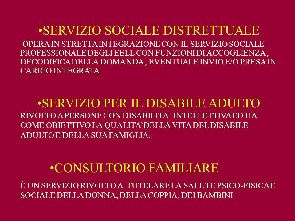 SERVIZIO SOCIALE DISTRETTUALE OPERA IN STRETTA INTEGRAZIONE CON IL SERVIZIO SOCIALE PROFESSIONALE DEGLI EELL CON FUNZIONI DI ACCOGLIENZA, DECODIFICA DELLA DOMANDA, EVENTUALE INVIO E/O PRESA IN CARICO INTEGRATA.