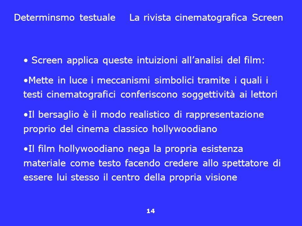 14 Determinsmo testuale La rivista cinematografica Screen Screen applica queste intuizioni allanalisi del film: Mette in luce i meccanismi simbolici t