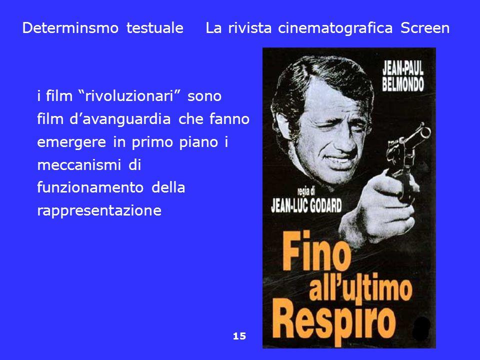 15 Determinsmo testuale La rivista cinematografica Screen i film rivoluzionari sono film davanguardia che fanno emergere in primo piano i meccanismi d
