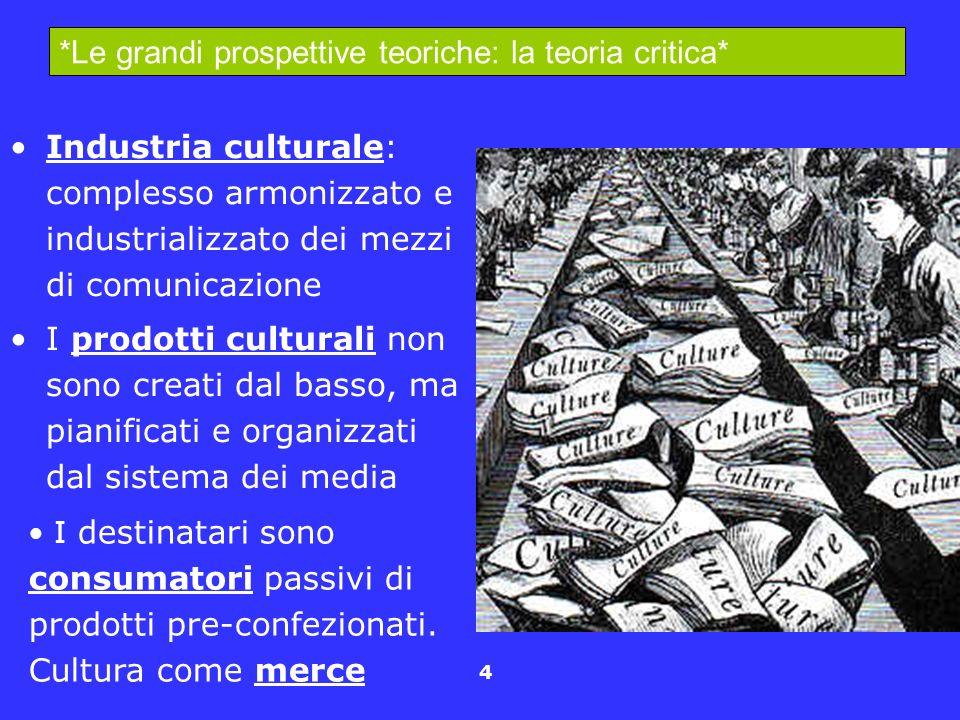4 Industria culturale: complesso armonizzato e industrializzato dei mezzi di comunicazione I prodotti culturali non sono creati dal basso, ma pianific