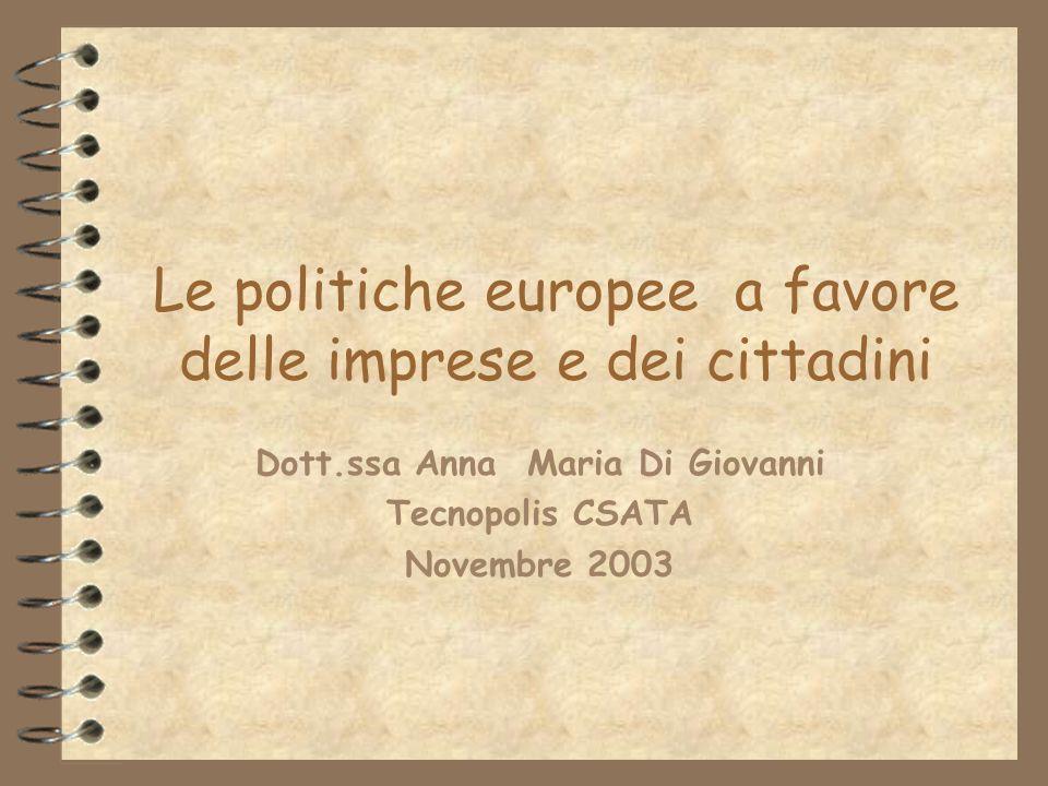 Le politiche europee a favore delle imprese e dei cittadini Dott.ssa Anna Maria Di Giovanni Tecnopolis CSATA Novembre 2003
