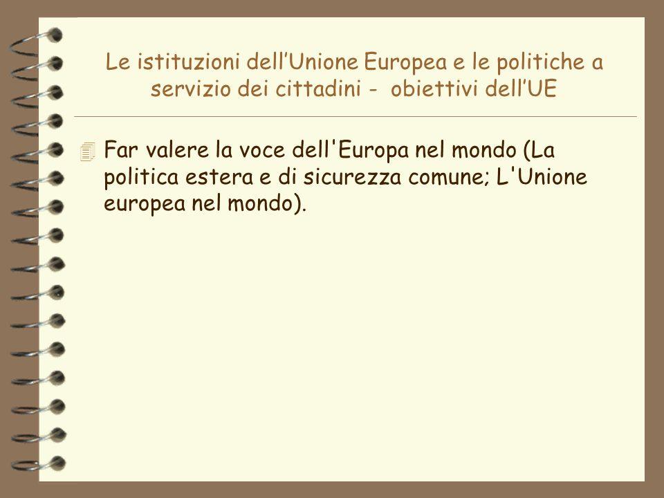 Le istituzioni dellUnione Europea e le politiche a servizio dei cittadini - obiettivi dellUE 4 Far valere la voce dell'Europa nel mondo (La politica e