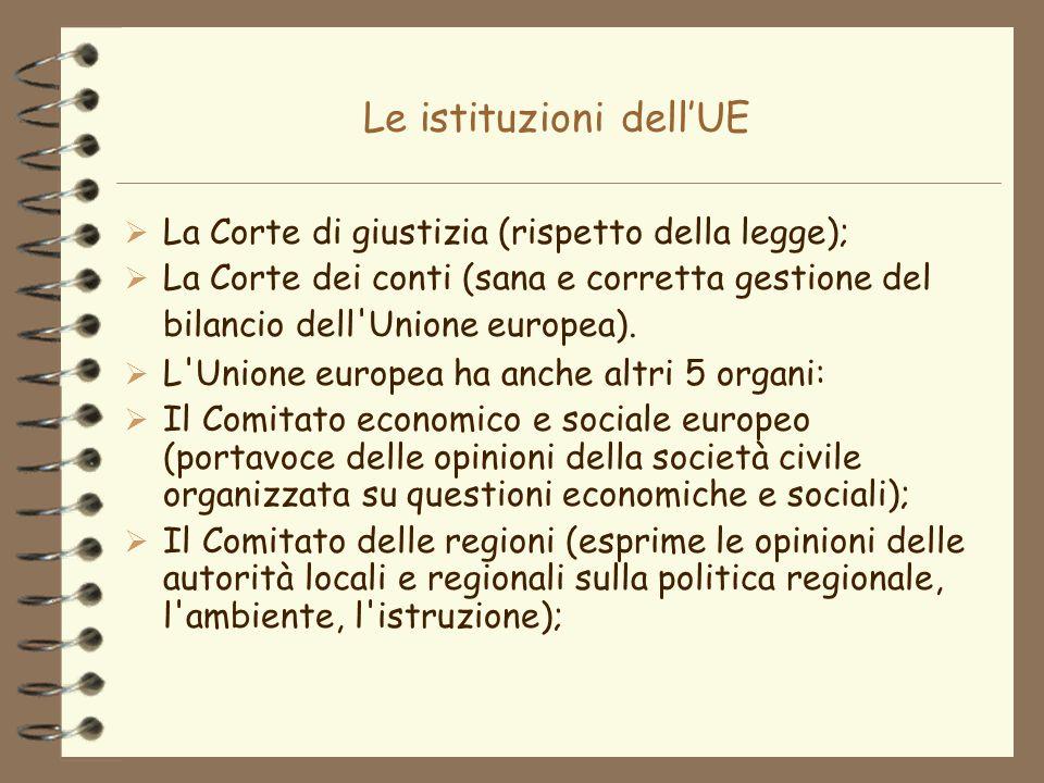 Le istituzioni dellUE La Corte di giustizia (rispetto della legge); La Corte dei conti (sana e corretta gestione del bilancio dell'Unione europea). L'