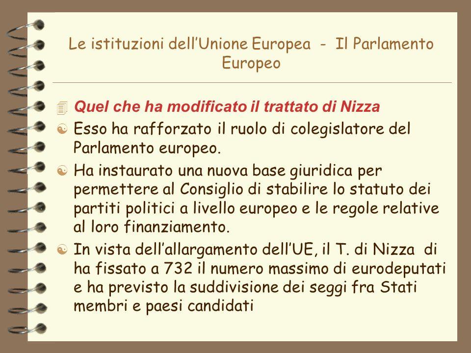 Le istituzioni dellUnione Europea - Il Parlamento Europeo 4 Quel che ha modificato il trattato di Nizza [ Esso ha rafforzato il ruolo di colegislatore